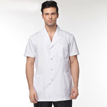 Men White Medical Coat Clothing Medical Services Uniform Nurse Clothing Short-sleeve Polyester Protect Lab Coats Clothing tanie i dobre opinie Dunayskiy COTTON Poliester WOMEN CMH0951 Fartuchy laboratoryjne Medyczne Suknem