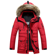 -40 Degree Cold Resistant Russia Winter Jacket Mens Top Quality Genuine Fur Collar Thick Warm White Duck Down Coat