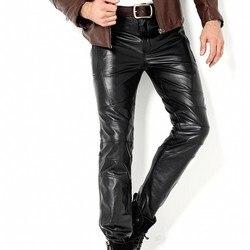 Echt Lederen Broek Mannelijke Geit Strakke Leren Broek Rechte Slanke Winddicht Motorfiets Mens Nieuwe Mode Volledige Broek Plus Size 36