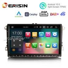 "Erisin 8128 9 ""Android 10 Auto Stereo GPS TPMS DAB + 4G Wireless CarPlay Für VW Golf 5/6 passat Polo Tiguan Caddy Jetta Sitz Skoda"