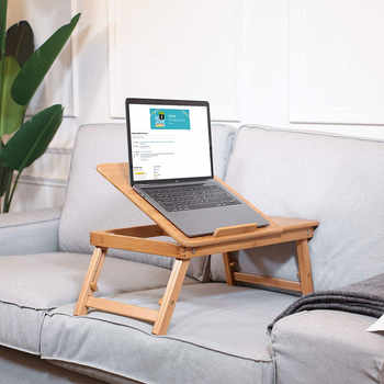Bamboo Folding Laptop Bed Reading Desk For Notebook Computer iPad Stand Table With Fan & Drawer