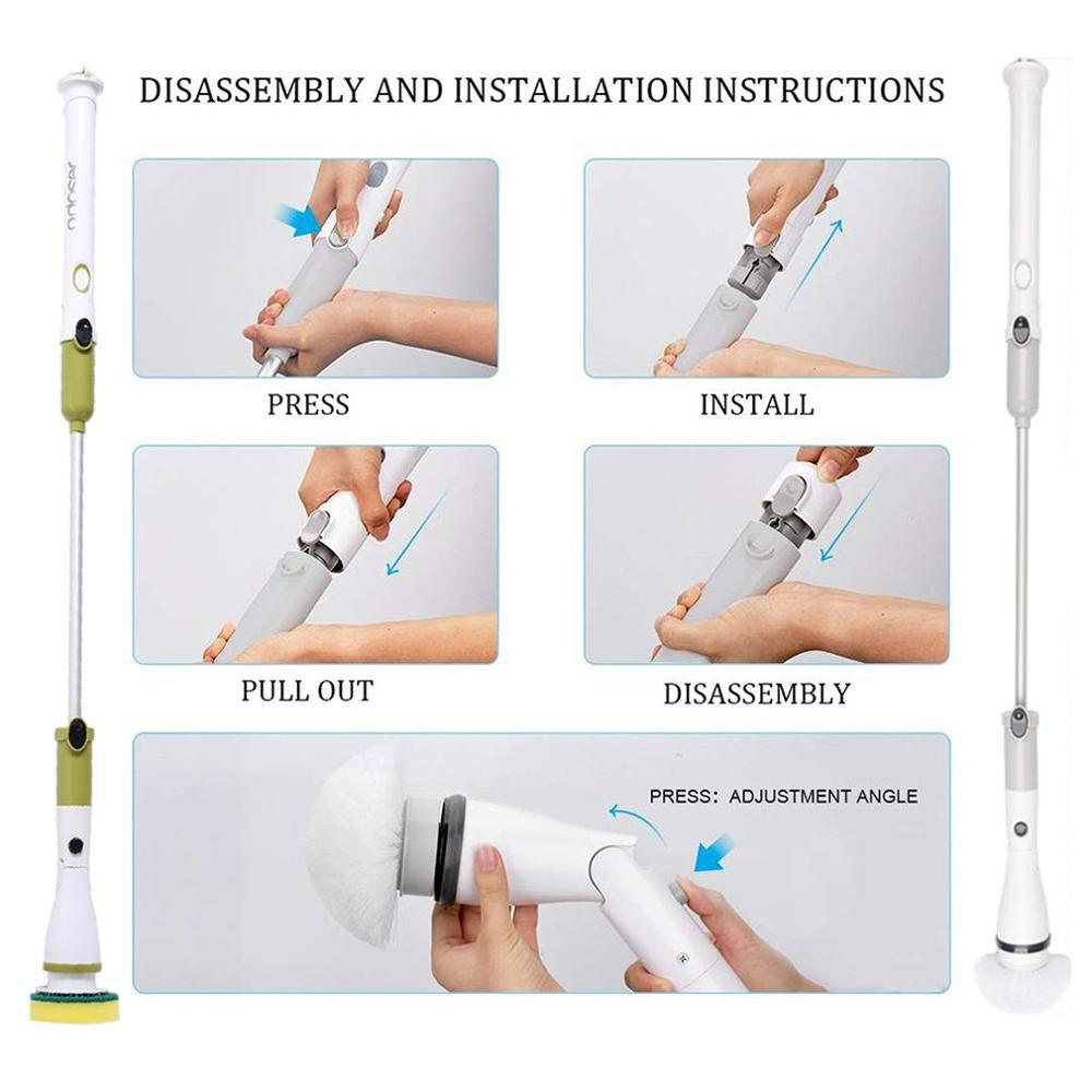 Image 5 - New Wireless Electric Cleaning Brush long handle telescopic household cleaning brush automatic rotating mop For Bathroom Kitchen-in Cleaning Brushes from Home & Garden