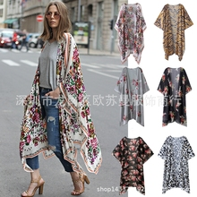 Kimono Cardigan Casual Womens Tops And Blouses Kimono Cardigan Floral Summer Long V-neck Lace Floral Embroidery Denim Cowboy floral embroidered kimono