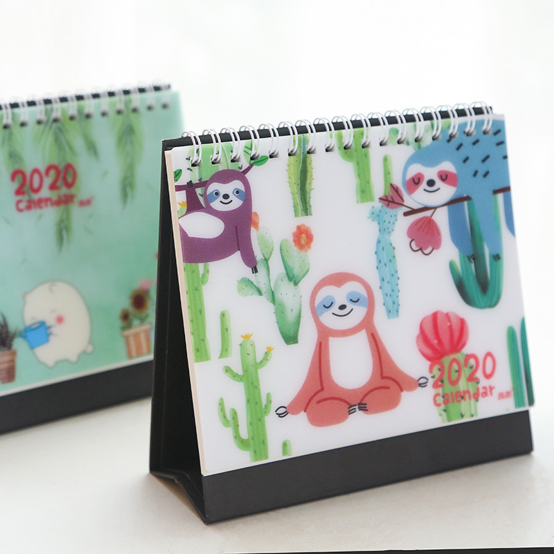 2020 Cute Sloth Crocodile Animals Desk Calendar Daily Schedule Table Planner Office Supplies 2019.07~2020.12