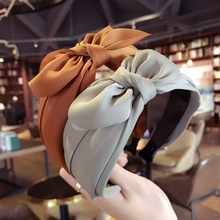 Xugar Rabbit Ear Knot Headbands for Women Premium Satin Bow Solid Color Hairband Hair Accessories