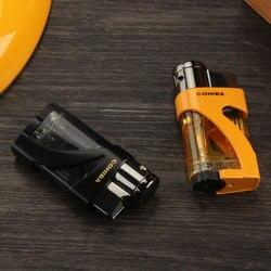 COHIBA latarka zapalniczki kieszeń gazowa wiatroszczelna 2 Jet zapalniczka do cygar na zewnątrz metalowa zapalniczka gazowa wielokrotnego napełniania cygara akcesoria w Akcesoria do cygar od Dom i ogród na