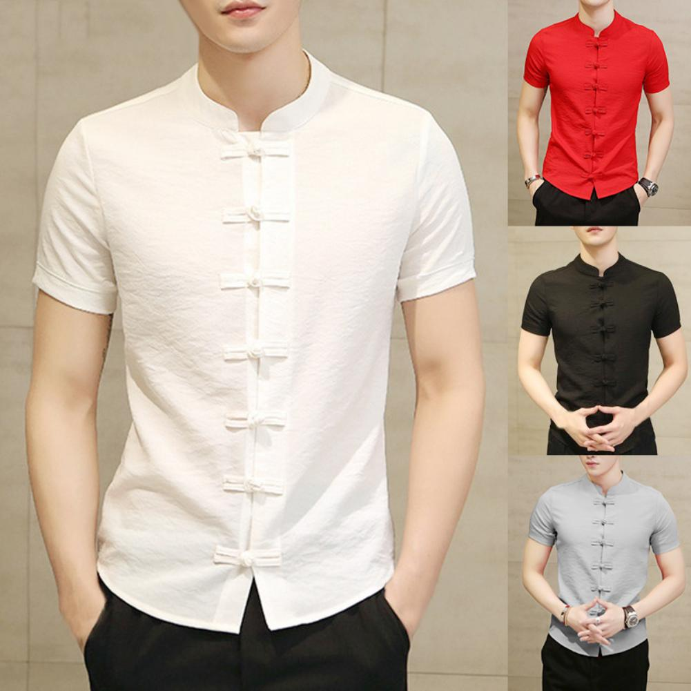 Traditional Chinese Tang Suit Men Plus Size Summer Short Sleeve Kung Fu Uniform Short Sleeve Cotton Tang Suit