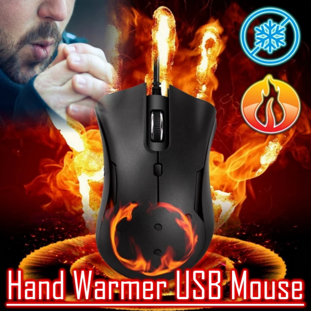 CARPRIE Winter Heated Mouse Multi-function Wired Warmer Heated For PC Games USB Gaming Silent Mice Mouse For Laptop Notebook