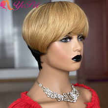 Short Pixie Cut Wig Straight Human Hair Wigs For Black Women Brazilian Remy Straight Bob Wig Full Mahine Made Wig With Bangs