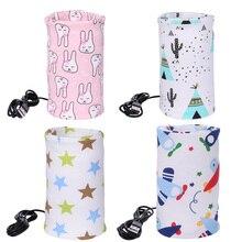 USB Travel Mug Milk Warmer Heater Feeding Bottle Portable Printed Baby Nursing Bottle Insulated Storage Bag 28x13cm