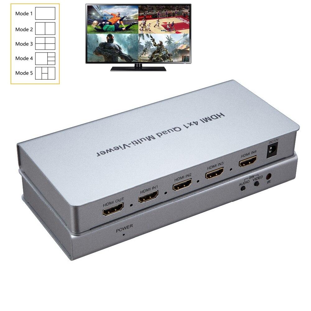 HDMI Multiviewer 4X1 schermo splitter HDMI Switcher Senza Soluzione di continuità 4 in 1 out per HDTV monitor del PC