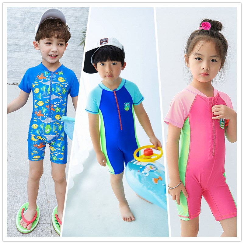 2020 KID'S Swimwear GIRL'S And BOY'S Infants Small Children Surfing Suit Zipper Two-Piece Set One-piece Swimwear