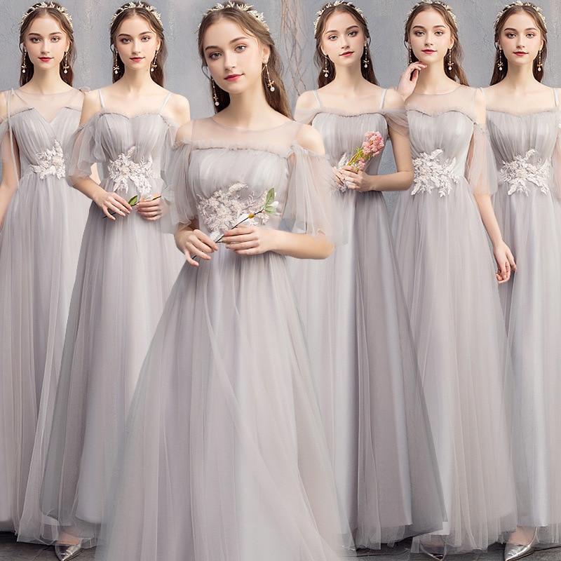 New Bridesmaid Dresses Gray A Line Floor Length Wedding Guest Gowns O-Neck Sling Half Sleeve Elegant Vestido De Festa Longo R002