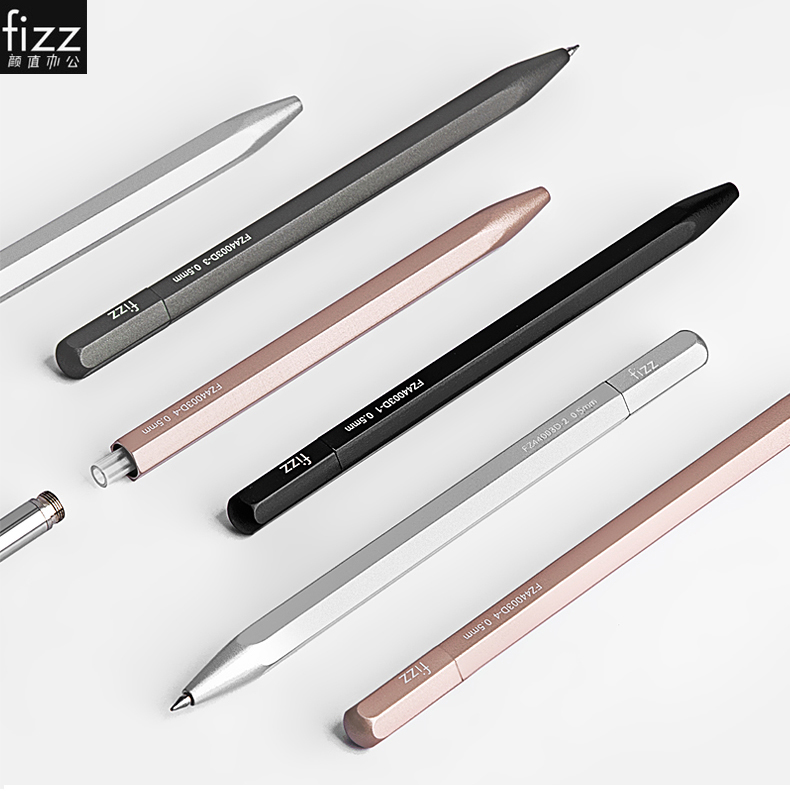 Fizz Metal Gel Pen with Refill for Xiaomi Gel Pens Polygonal Aluminum alloy 0.5MM Black Ink for Office Students Business Pens