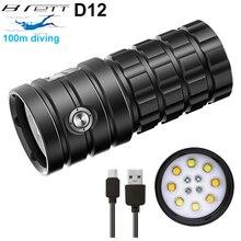 Новый светодиодный светильник для дайвинга 8 x hp50 25000 люменов 100 м водонепроницаемый тактический фонарь для фотосъемки видео светильник