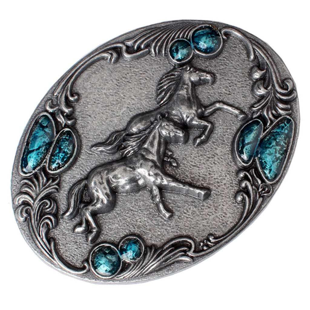 Western Belt Buckle Rodeo Running Horse Vintage Oval Women Men Cowboy