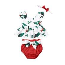 Рождественский комбинезон для новорожденных девочек от 0 до 24 месяцев, комплект одежды для малышей, комбинезон+ короткие штаны+ повязка на голову