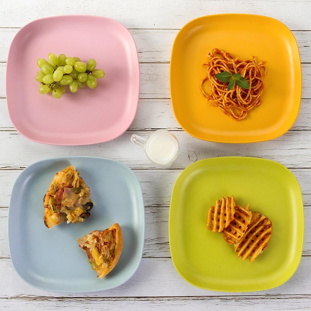 Lekoch 4pcs Plate Bamboo Colorful Fiber Tableware Plates Set Household Snack Dessert Dishes Fruits Salad