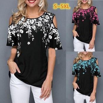 Nowe letnie bluzki damskie na co dzień z krótkim rękawem topy koszulki Sexy Off ramię O-neck kwiatowy Print bluzka koszula Plus rozmiar 5XL Blusas tanie i dobre opinie Poliester COTTON REGULAR Osób w wieku 18-35 lat WOMEN Hollow out Suknem Drukuj SFM-GCY-014
