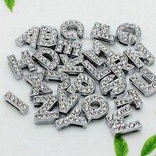 26 sztuk/partia 8mm A-Z kolor srebrny pełne Rhinestone litery slajdów nadające się do bransoletki nadgarstek Pet Collar naszyjnik biżuteria akcesoria