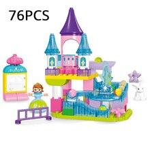 76 قطعة قلعة الأميرة كتلة سباق الرخام تشغيل متاهة كرات المسار مدينة فتاة الشريحة الطوب مجموعة Diy بها بنفسك كتلة متوافقة مع Legoing duho