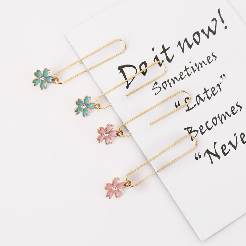 TUTU 5pcs/box Cherry Blossom Paper Clips De Papel Notes DIY Bookmark Metal Binder Clips Clips Notes Letter Paper Clips H0333