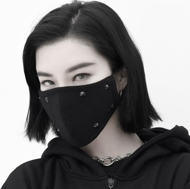 Men Women's Windproof 100% Cotton Mask Lady's PM 2.5 Hip Hop Punk Breathable Black Rivet Mouth-muffle R2737