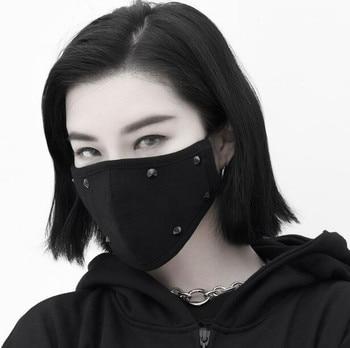 Men Women's windproof 100% cotton mask lady's PM 2.5 hip hop punk breathable black rivet mouth-muffle R2737