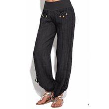 Casual Pants Women 2019 Loose Sport Harem Pants Sweatpants Wide Leg High Waist Lace Up Straight Joggers Trousers Plus Size M-5XL lace up color block selvedge embellished straight leg pants for men