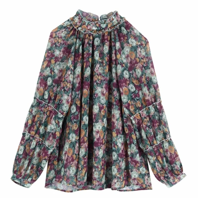 New Women Elegant Stand Collar Floral Print Casual Kimono Blouse Shirts Women Ruffles Chiffon Blusas Roupas Feminina Tops LS6012