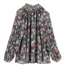 New women elegant stand collar floral print casual kimono blouse shirts