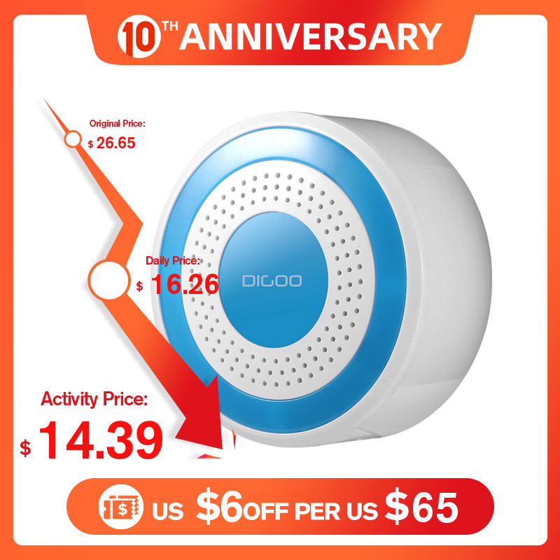 DIGOO DG-ROSA 433MHz Wireless DIY Standalone Alarm Siren Multi-function Home Security Alarm Systems Host & Siren Set