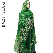 Novo africano feminino scarfs muçulmano bordado net cachecol transparente círculo design cachecol para xales bm02
