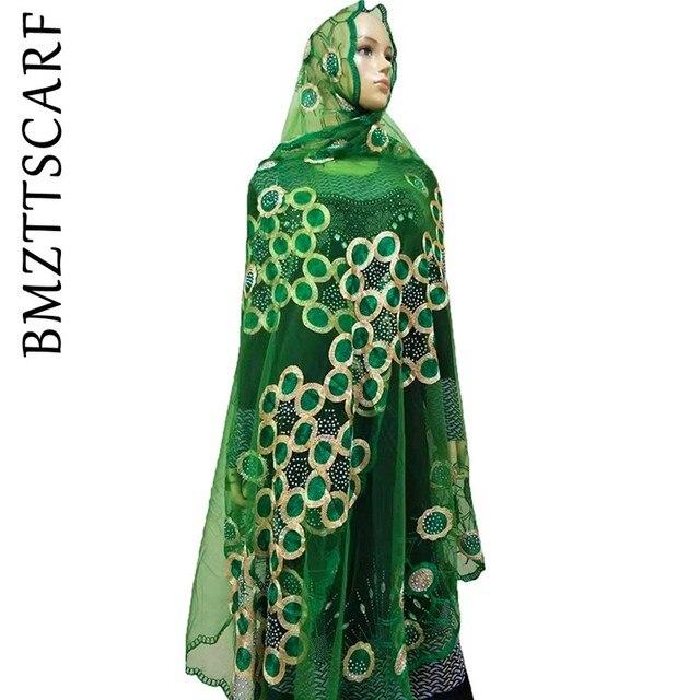 Écharpes africaines pour femmes musulmanes, écharpe en filet brodée, écharpe transparente de conception circulaire pour châles, BM02, nouvelle collection