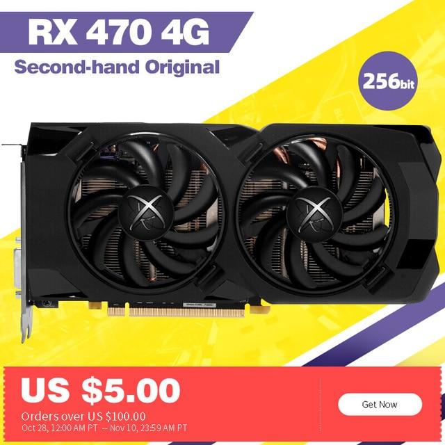 Xfx rx 470 4gb placa gráfica 256bit gddr5 4gb desktop usado placa de vídeo amd placa gráfica radeon compatível com x79 placa-mãe 1