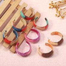Boho Raffia Weave Pendant Earrings For Women Fashion Big Statement Rainbow Colorful Drop Earring Ladies Modern Jewelry Za 2019
