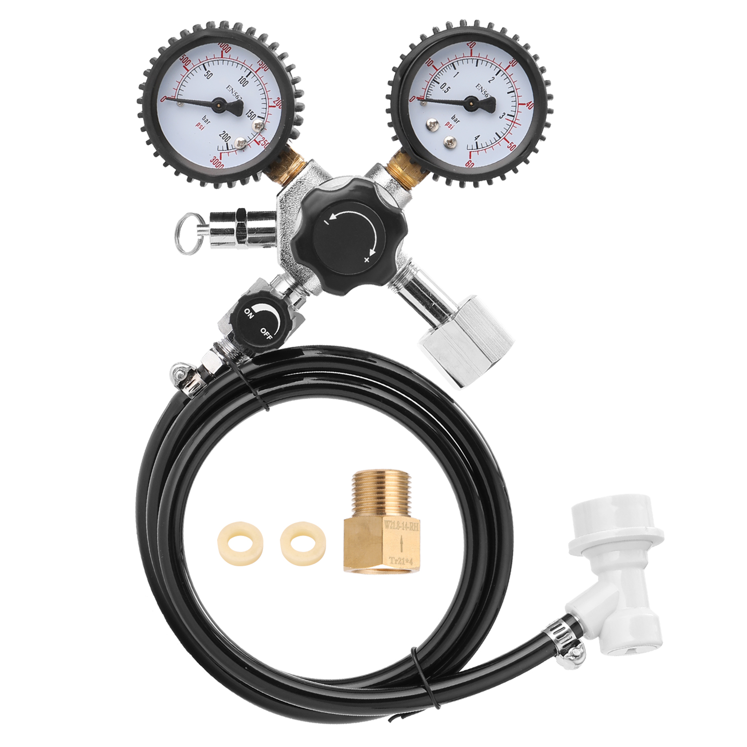 Portable Double Gauge Beer CO2 Pressure Relief Valve Safety Keg Buck Regulator 0-3000 PSI Tanks Pressure Gauge