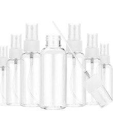 Garrafa vazia plástica transparente pequena portátil 10ml do pulverizador de 5 pces/30ml/50ml/60ml/100ml vail recarregável