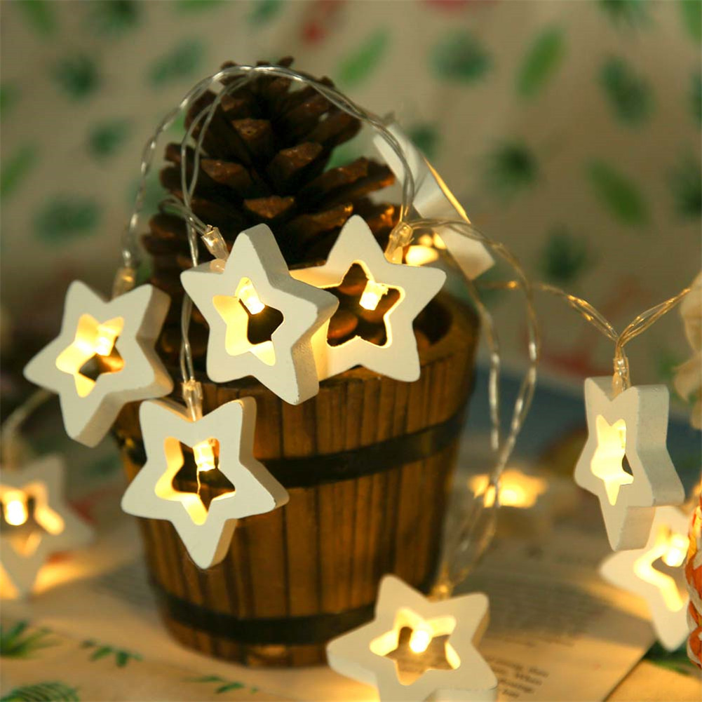 10LED Wood Star Light String Home Wedding Christmas Decorative LED Lighting Balls Guirlande Lumineuse Led