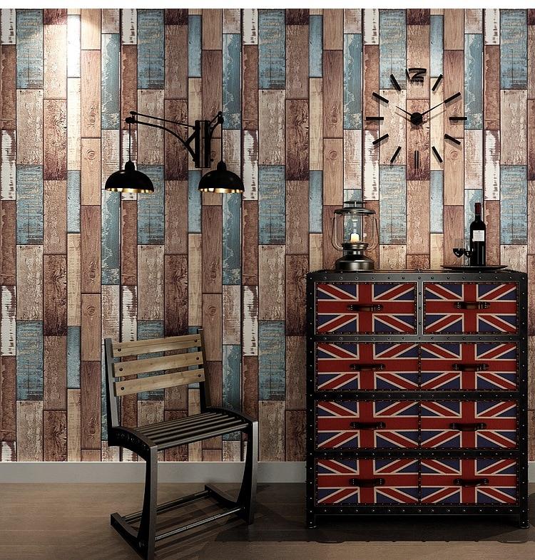 Industrial-Style Retro Nostalgic 3D Model Wood Grain Wallpaper Hairdressing Clothing Store Restaurant Cafe Board Wallpaper