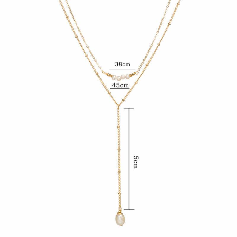 Modny perłowy koralik długi złoty łańcuch naszyjniki i wisiorek dla kobiet czechy list M okrągły długi naszyjnik z kryształem 2019 biżuteria