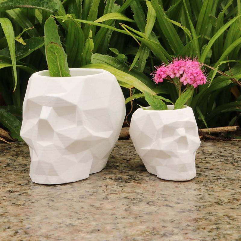 Geometric Skull Flower Pot Molds Concrete Pot Moulds Cement Pen Holder Molds