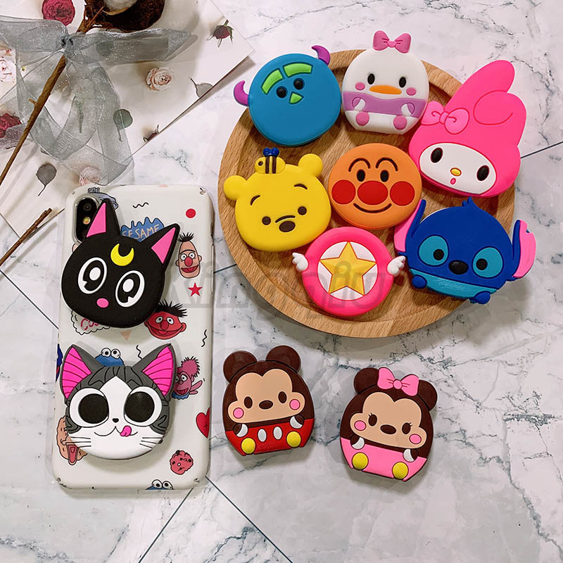 Universal Mobile Phone Stretch Bracket Cartoon Air Bag Phone Expanding Phone Stand Finger Car Phone Holder For Iphone X 7