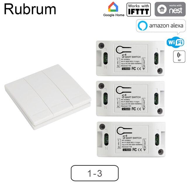 Rubrum Smart RF Wifi commutateur RF 433MHz 10A/2200W commutateur sans fil 86 Type interrupteur marche/arrêt panneau 433MHz télécommande émetteur