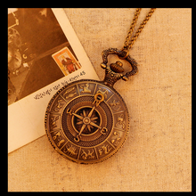 Fashion Antique Bronze Men Women Pocket Watch Luxury Vintage Necklace Map Pattern Pendant Relogio Masculino