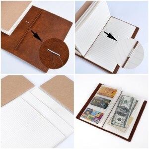 Image 4 - 50 peças/lote passaporte 135x105mm caderno de couro genuíno feito à mão do vintage diário diário sketchbook planejador