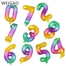 Candy 16 Inch Nummer Folie Ballonnen Opblaasbare Verjaardag Digit Figuur Leeftijd Ballonnen Volwassen Kinderen Blij Verjaardagsfeestje Ballonnen Decor