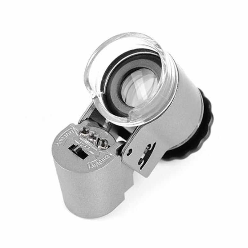 60 Times Microscope LED Lamp Lights Portable Pocket With Lamp Magnifying Glass