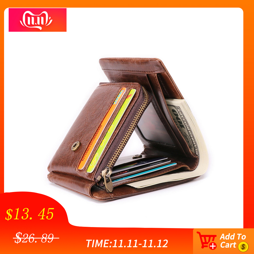 JOGUJOS Men Wallet Genuine Leather Trifold Wallet Causal Short Wallets For Credit Cards Vintage Short Purse For Male RFID Money