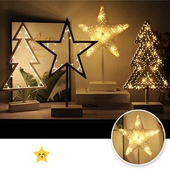 New  Battery  LED  Desk lamp  Maiden heart  Night light  Five-pointed star  christmas tree  Bedroom  Study  Decorative lamp цена 2017